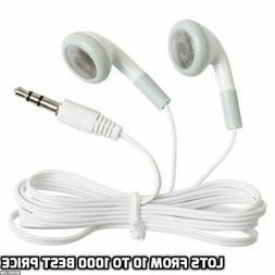 10-1000 Lot Bulk Wholesale White 3.5MM Headphones Earbuds Ea