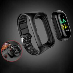 2-In-1 Smart Bracelet Watch w/TWS Earbuds Fitness Tracker Bl