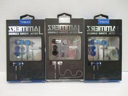 3 PAIR COBY JAMMERZ METAL STEREO EARBUDS W/ MIC - BLUE/SILVE