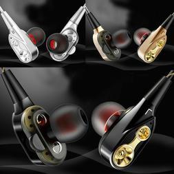 4 SPEAKER DUAL UNIT STEREO HANDSFREE HEADSET HEADPHONES EARP