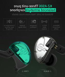 KZ AS06 Headphones 3 Balanced Armature Driver  HIFI Bass Ear
