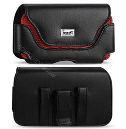 REIKO Black/Red Leather Belt Clip Case Pouch for Phone WITH
