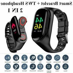 BT Smart Watch Band with TWS Earbuds Wireless Waterproof Bra