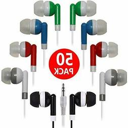 Bulk Earbuds 50 Pack Multi Colored For Classroom,HONGZAN Who