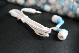 Bulk Lot of 25 - BLUE/WHITE - 3.5mm In-Ear Earbuds / Earphon