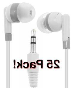 Bulk Lot of 25 WHITE/GRAY 3.5mm Headphones / Earbuds / GREAT