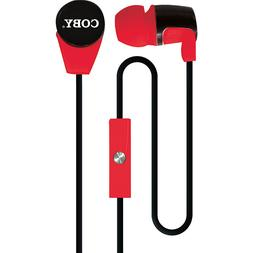 Coby CVE-104 Red Earbuds Tangle Free Flat Cable w/ Built In-