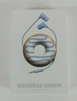 Doughnut Earbuds With Microphone and Cord Wrapper,Blue