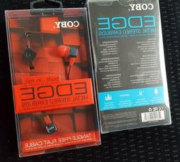 COBY EDGE built in mic Metal Stereo Earbuds Red and Blue Bra