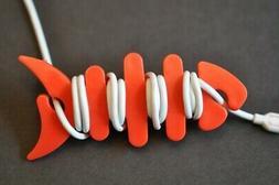 fish bone cord ear buds wrap holder