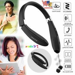 Foldable Retractable Wireless Headset Headphone Sport Neckba