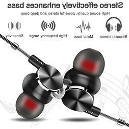 In-Ear Earbuds, Magnetic Wired Earphones Mic Metal Stereo Ba