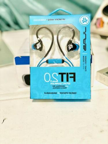 JLab Audio Fit 2.0 Sport Earbuds, Washable/Sweatproof