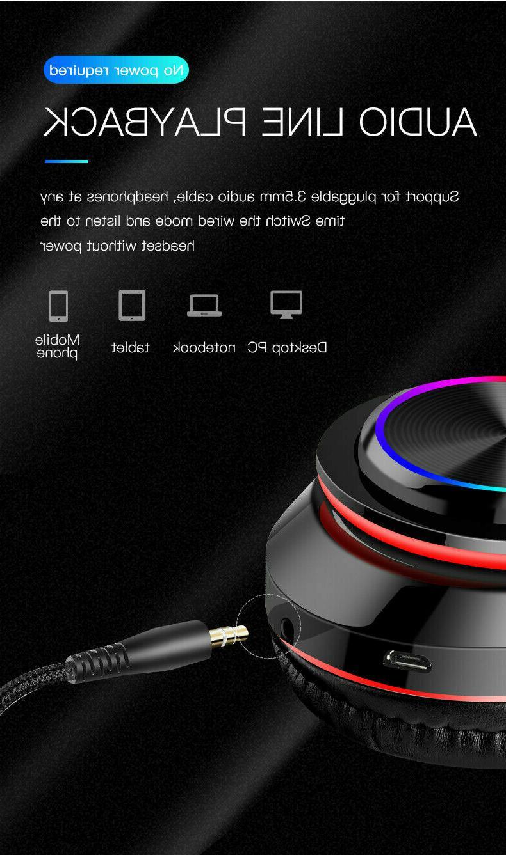 Bluetooth 5.0 Earphones Over Ear Stereo Headphones Mic