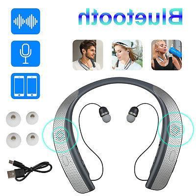 bluetooth headphones speaker neckband 3d stereo sound