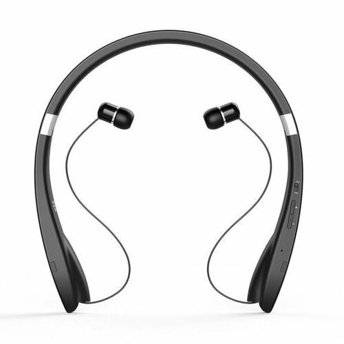 Foldable Stereo Neckband Headset Wireless Bluetooth Retracta