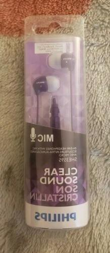 Philips Clear Sound In Ear Earbuds With Mic SHE3595 Purple