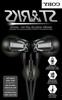Coby CVE-129-BLK Starks Metal Tangle Free Earbuds W/Mic