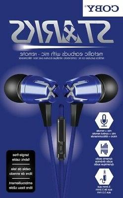 Coby CVE-129-NVY Starks Metal Tangle Free Earbuds W/Mic