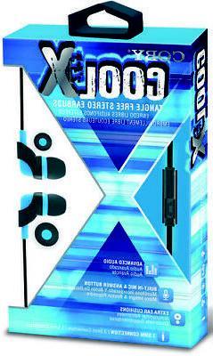 Coby CVE-145-BLU Cool X Tangle Free Plastic Earbuds W/Mic