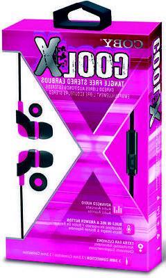Coby CVE-145-PNK Cool X Tangle Free Plastic Earbuds W/Mic
