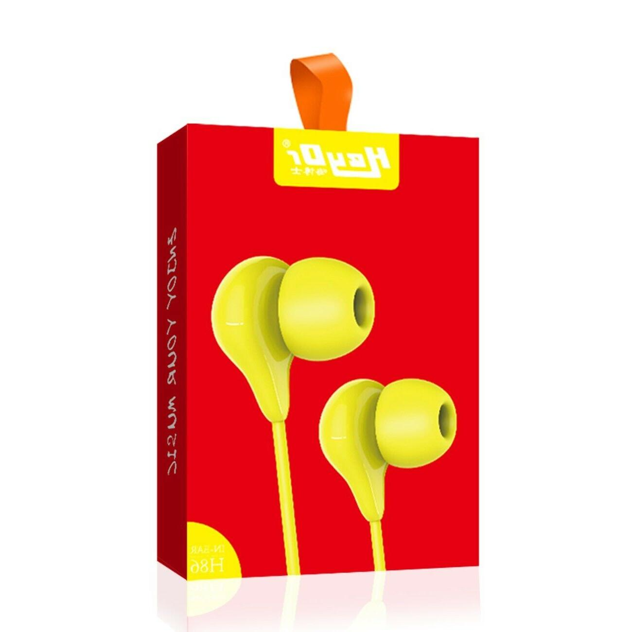 In-Ear Earbuds Headset Microphone iPhone Samsung Yellow