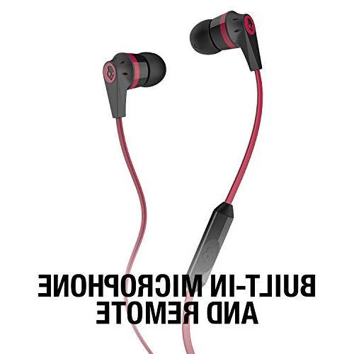 Skullcandy Earbuds with and Cable, Noise-Isolating with Precision Highs, Black/Red