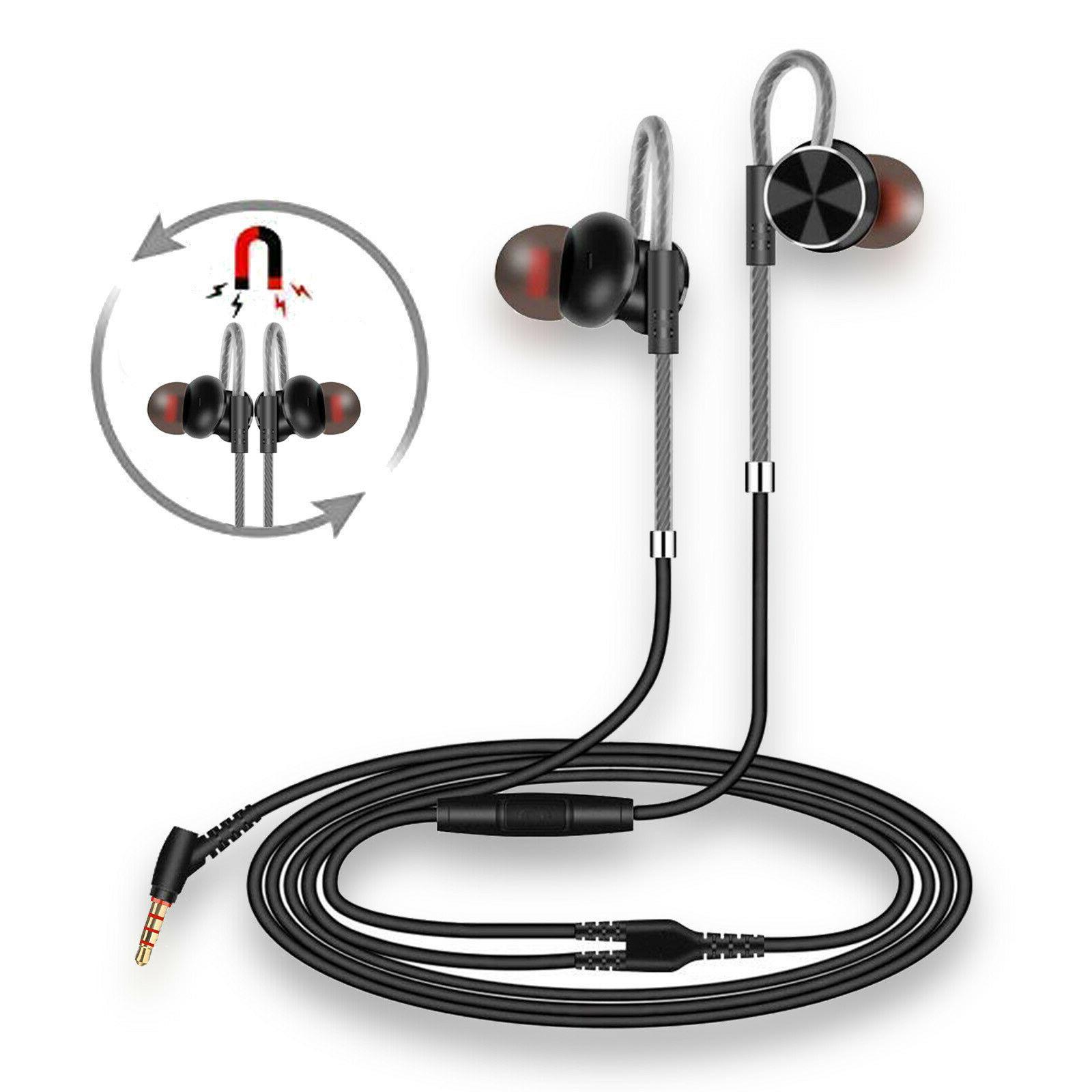 Magnetic In-Ear Earphone Stereo Wired Earbuds Mic Headphone