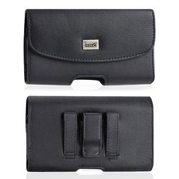 REIKO Leather Sideways Belt Clip Case for Cell Phone FITTED