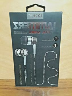 New Black Coby Jammerz Metal Stereo Earbuds w/ Built-In Micr