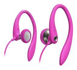 NEW PINK Earbud Ear Clip Headphones.Comfort Music.4' Cord.Jo
