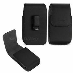 Reiko Vertical Leather Carrying Belt Clip Case for Phone Wit