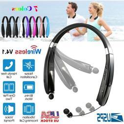 Wireless Headset Headphone Sport Foldable Retractable Neckba