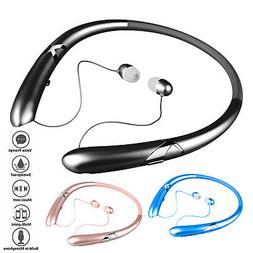Wireless Stereo Neckband Headset Bluetooth 5.0 Retractable H